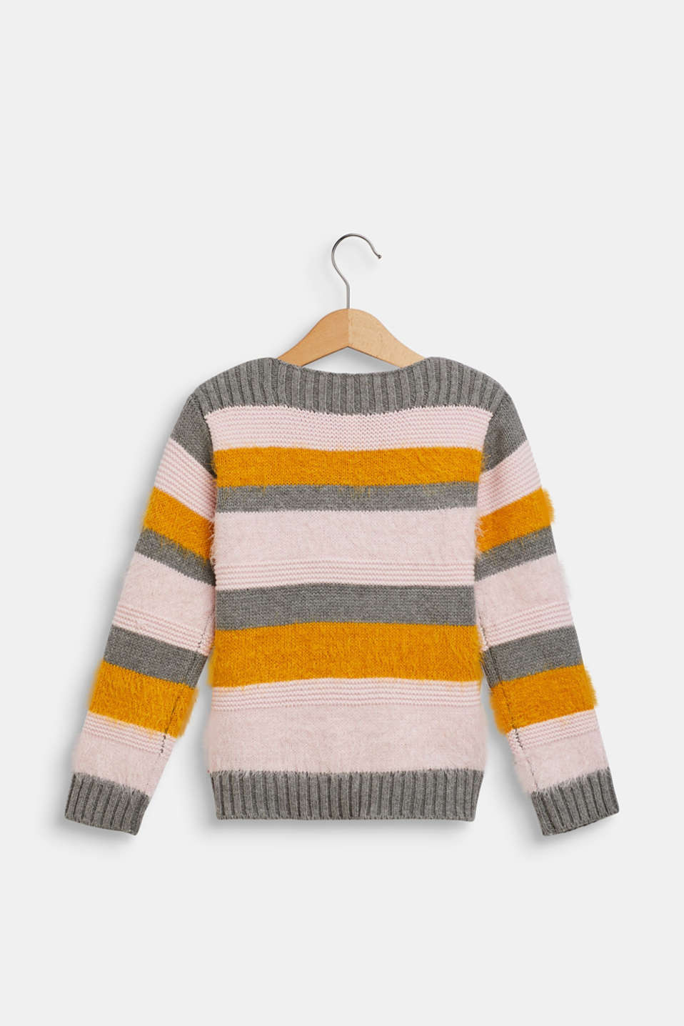 Jumper with fluffy stripes, DARK HEATHER G, detail image number 1