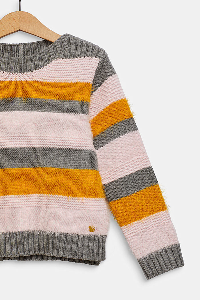 Jumper with fluffy stripes, DARK HEATHER GREY, detail image number 2