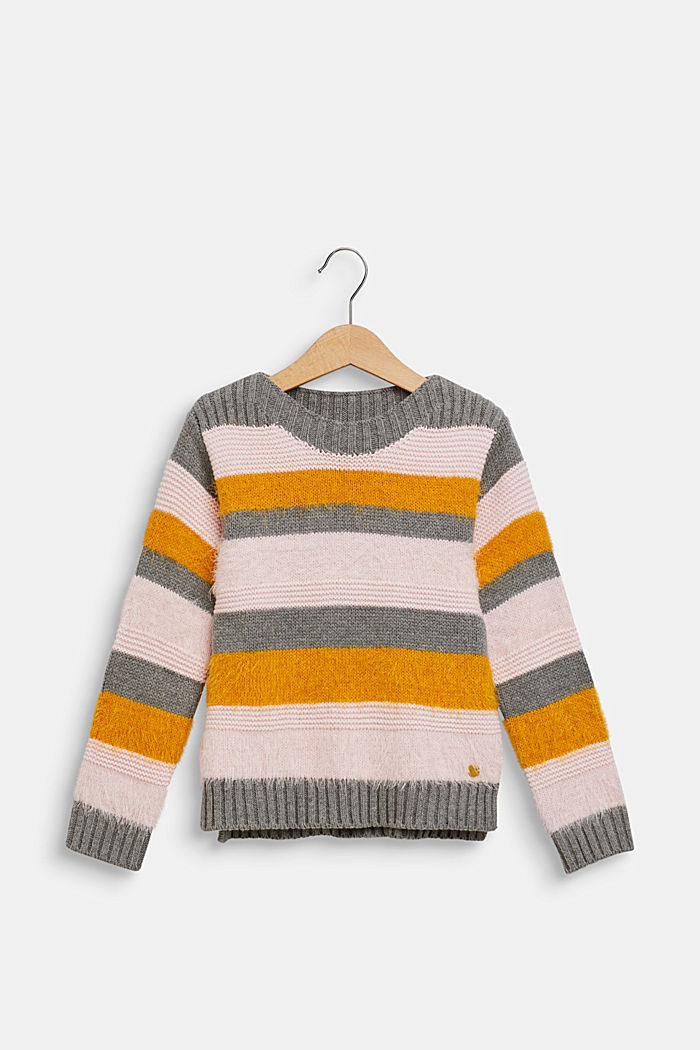 Jumper with fluffy stripes, DARK HEATHER GREY, detail image number 0