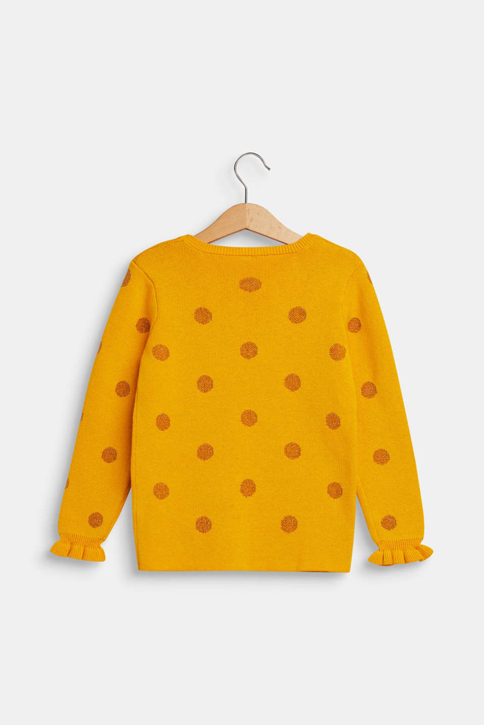 Jumper with glittering polka dots, MUSTARD, detail image number 1