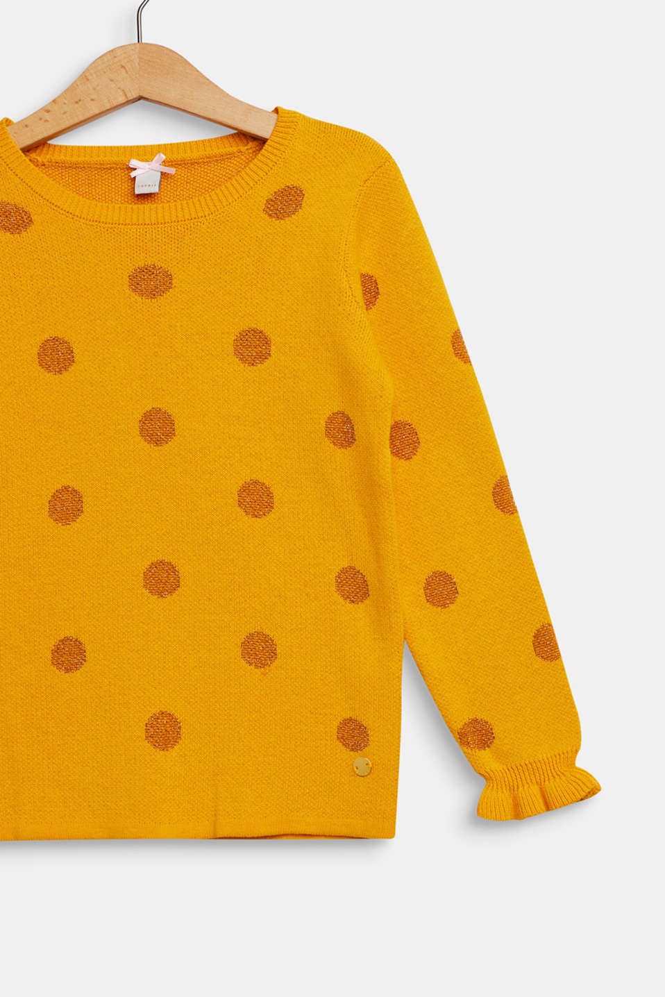 Jumper with glittering polka dots, MUSTARD, detail image number 2