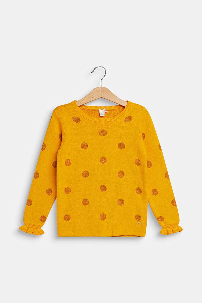 Pullover mit glitzernden Tupfen, MUSTARD, detail image number 0