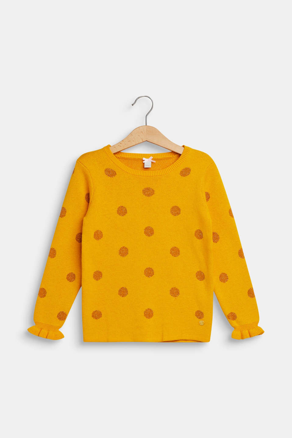 Jumper with glittering polka dots, MUSTARD, detail image number 0