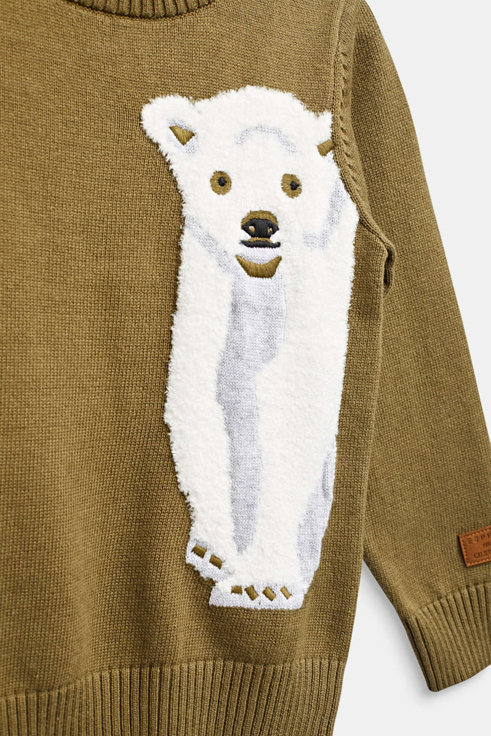 Sweater with a fluffy polar bear motif, KAKI, detail image number 2