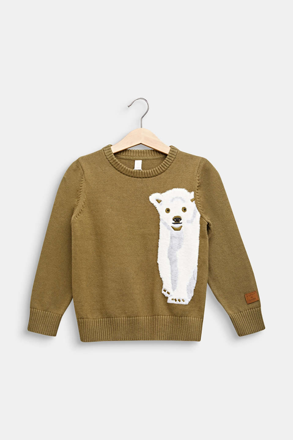 Sweater with a fluffy polar bear motif, KAKI, detail image number 0