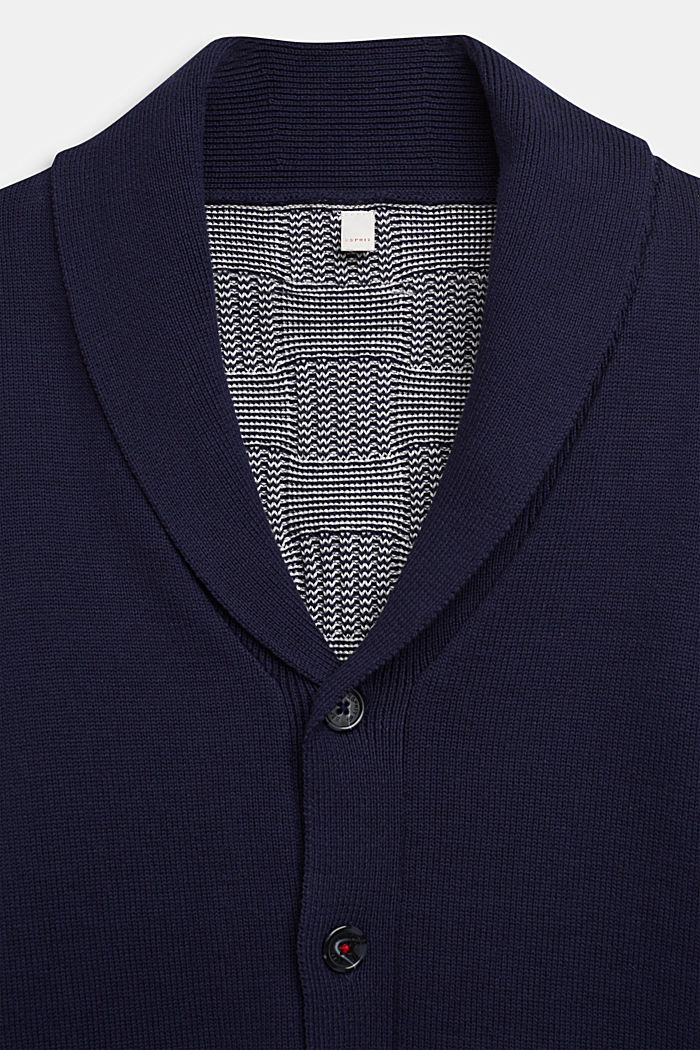 Cardigan with a check pattern, 100% cotton, ULTRAMARINE, detail image number 2