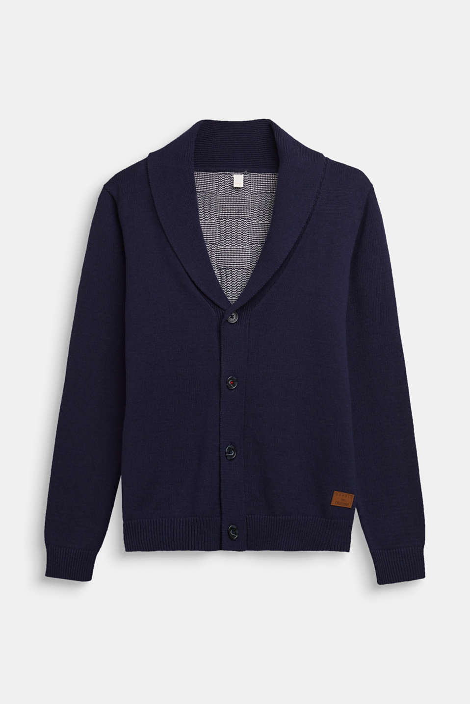 Esprit - Cardigan with a check pattern, 100% cotton