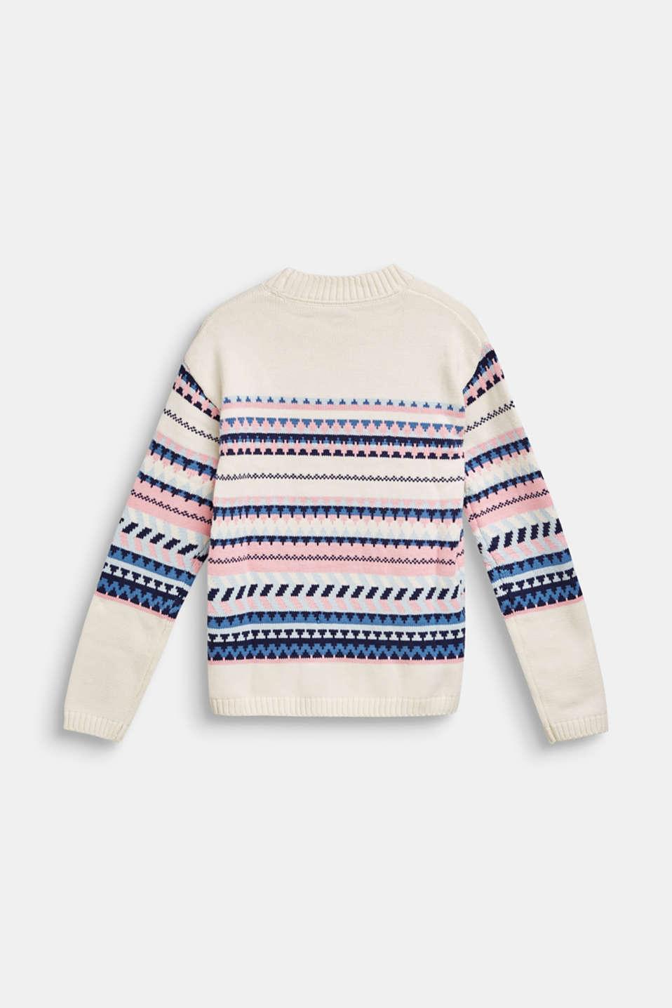 Blended cotton jacquard jumper, LCOFF WHITE, detail image number 1