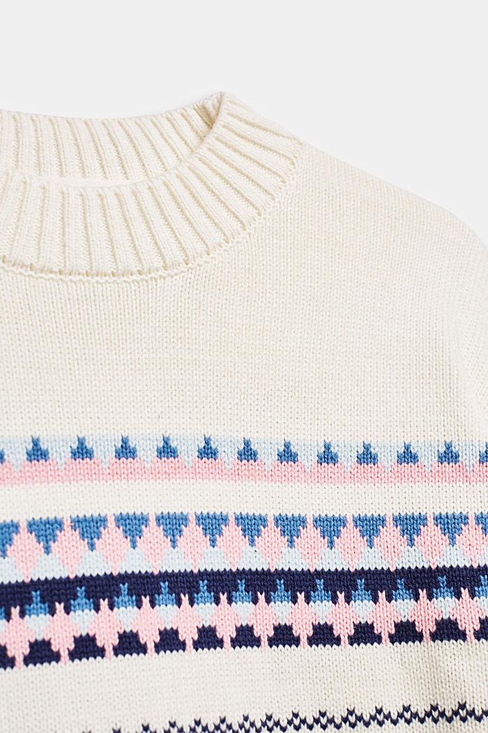 Jacquard trui van een katoenmix, OFF WHITE, detail image number 2