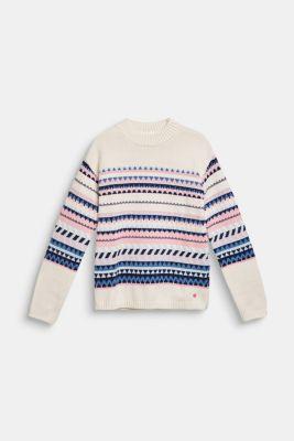 Blended cotton jacquard jumper, LCOFF WHITE, detail