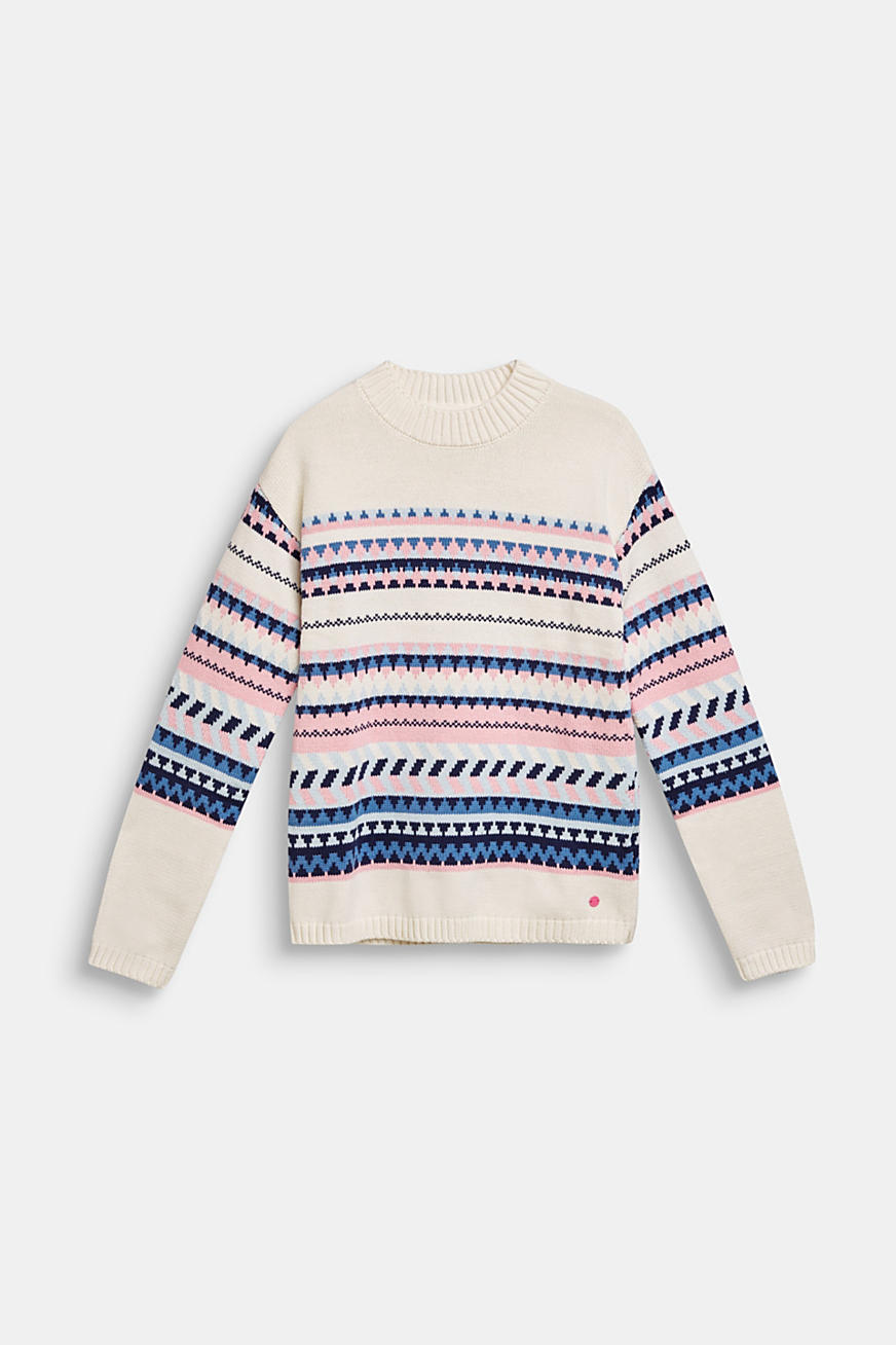 Blended cotton jacquard jumper