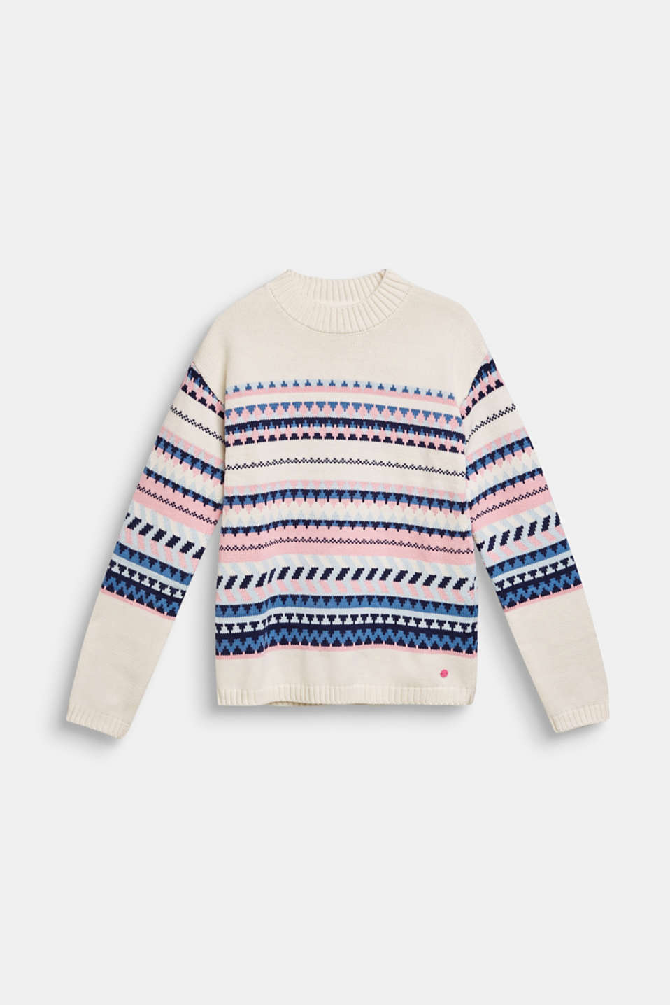 Blended cotton jacquard jumper, LCOFF WHITE, detail image number 0