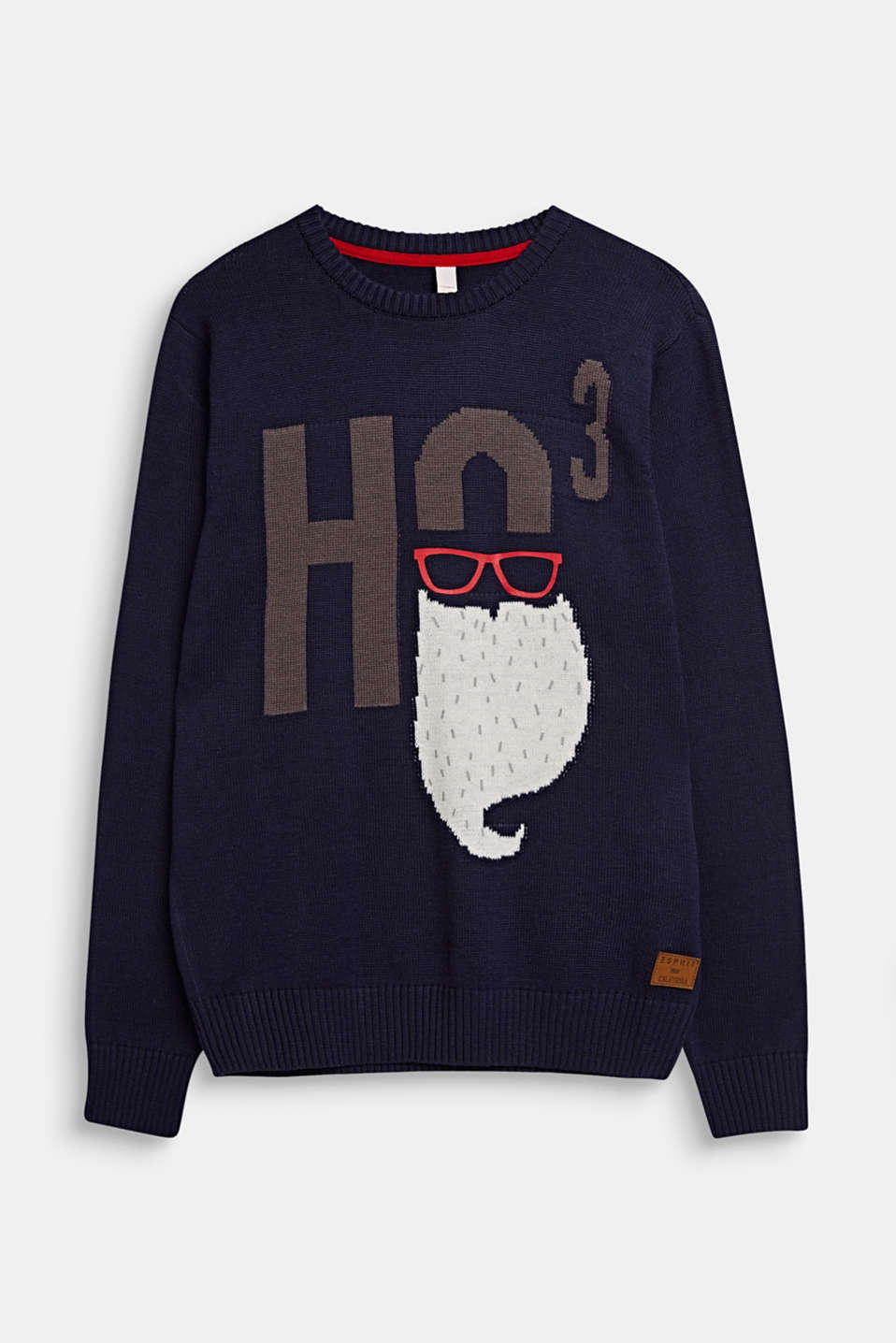 Xmas jumper with a jacquard motif, LCNAVY BLUE, detail image number 0