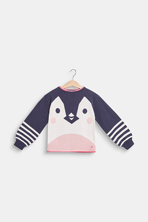 Jumper with a penguin motif, 100% cotton