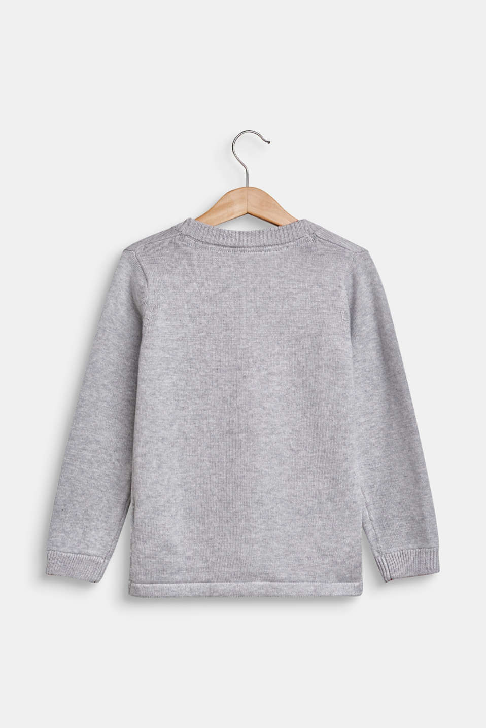 Cardigan in 100% cotton, HEATHER SILVER, detail image number 1