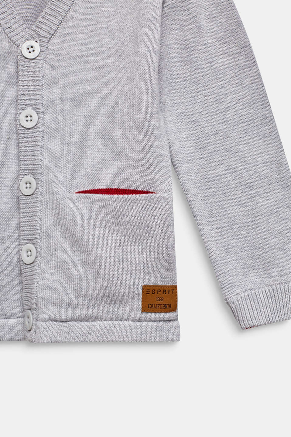 Cardigan in 100% cotton, HEATHER SILVER, detail image number 2