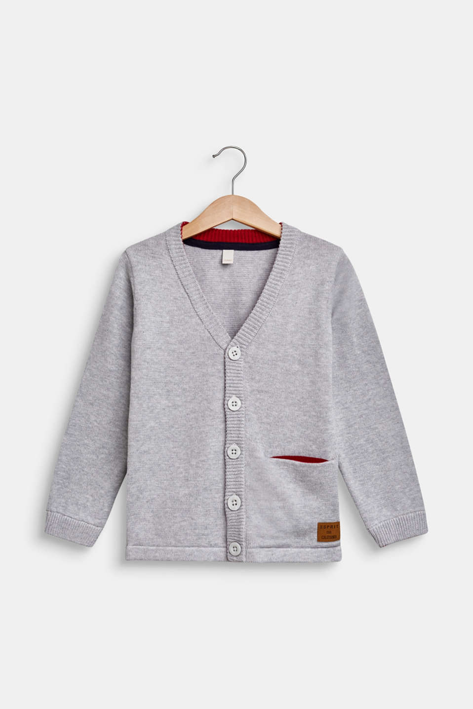 Cardigan in 100% cotton, HEATHER SILVER, detail image number 0