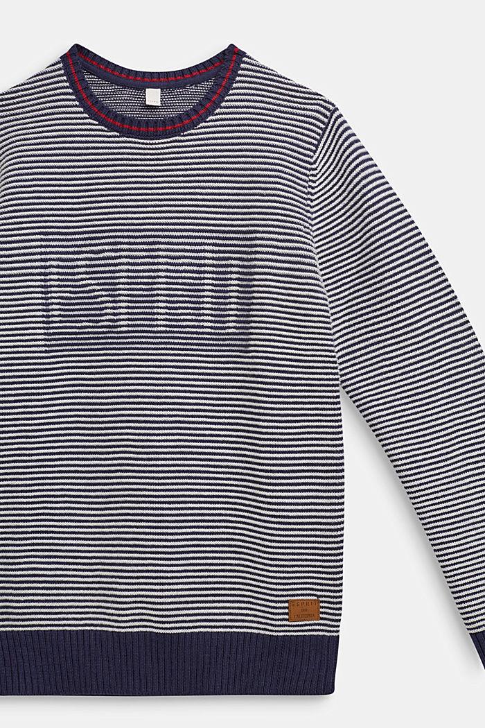 Pullover mit Logo und Streifen-Struktur, ULTRAMARINE, detail image number 2
