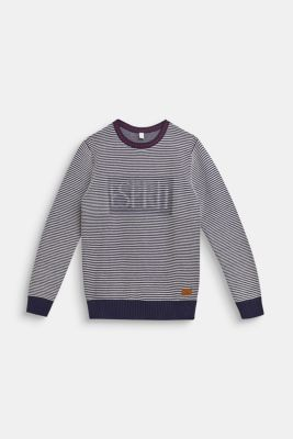 Jumper with logo and striped texture, LCULTRAMARINE, detail