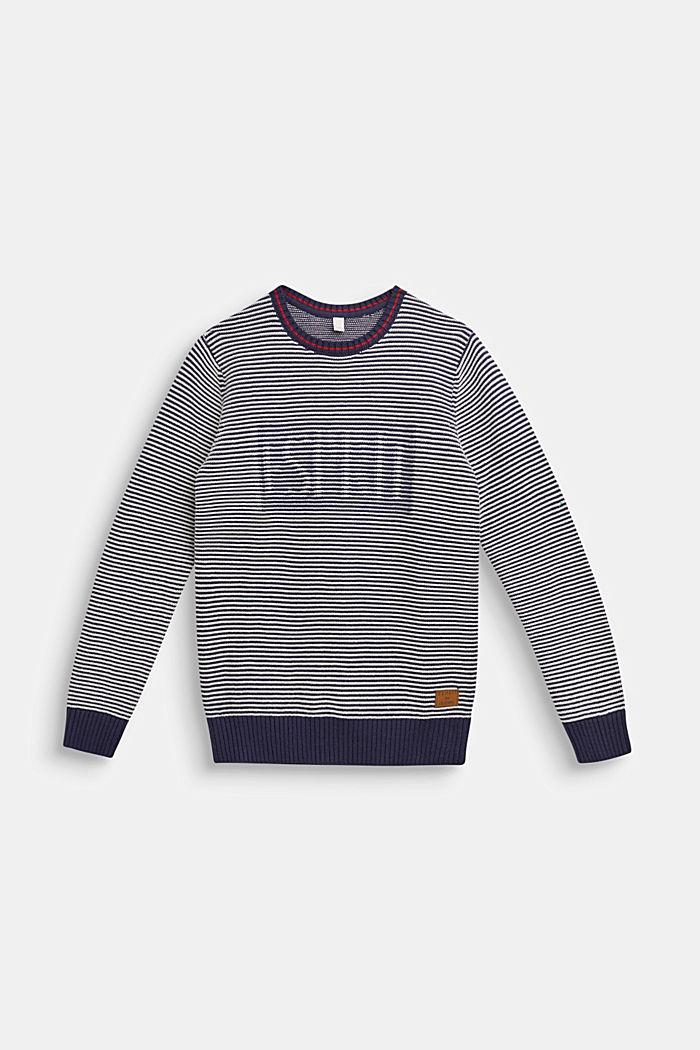 Pullover mit Logo und Streifen-Struktur