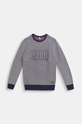 Jumper with logo and striped texture