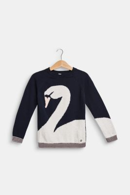 Jumper with a towelling swan, NAVY BLUE, detail