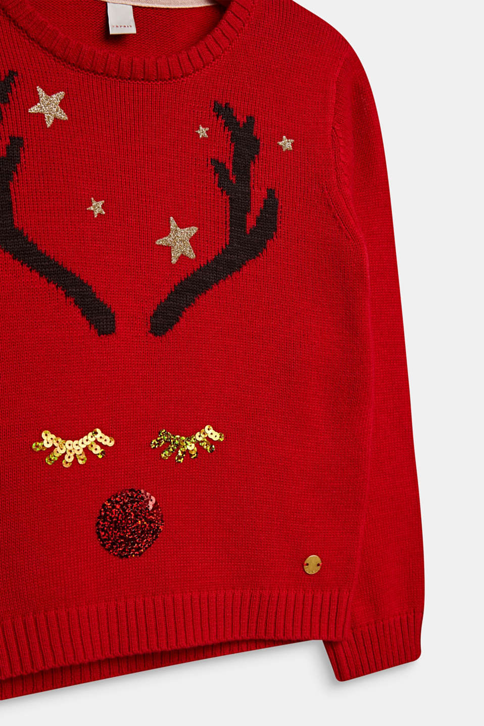 Christmas jumper with glitter and sequins, POPPY RED, detail image number 2