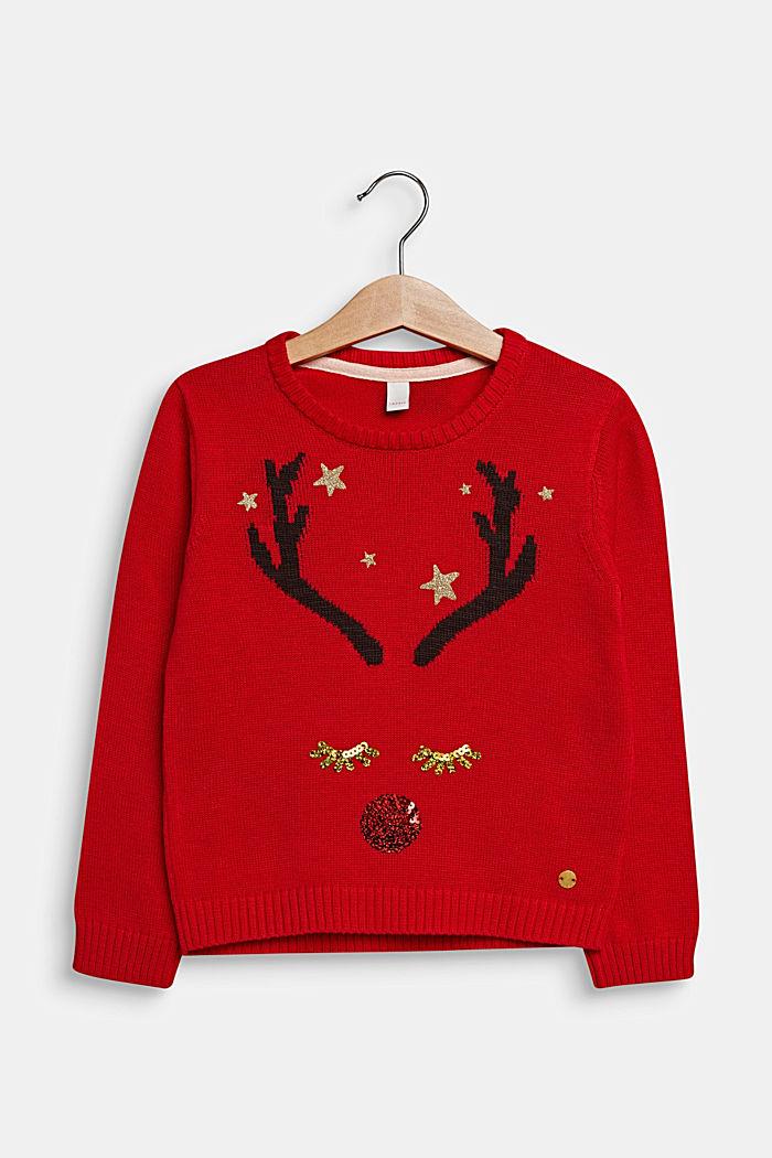 Vánoční pulovr se třpytkami a pajetkami, POPPY RED, detail image number 0