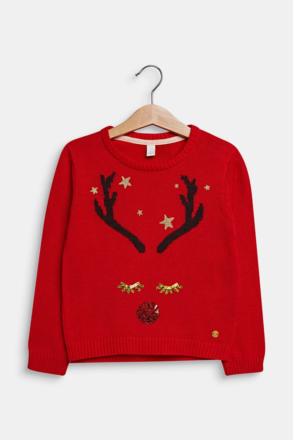 Christmas jumper with glitter and sequins, POPPY RED, detail image number 0
