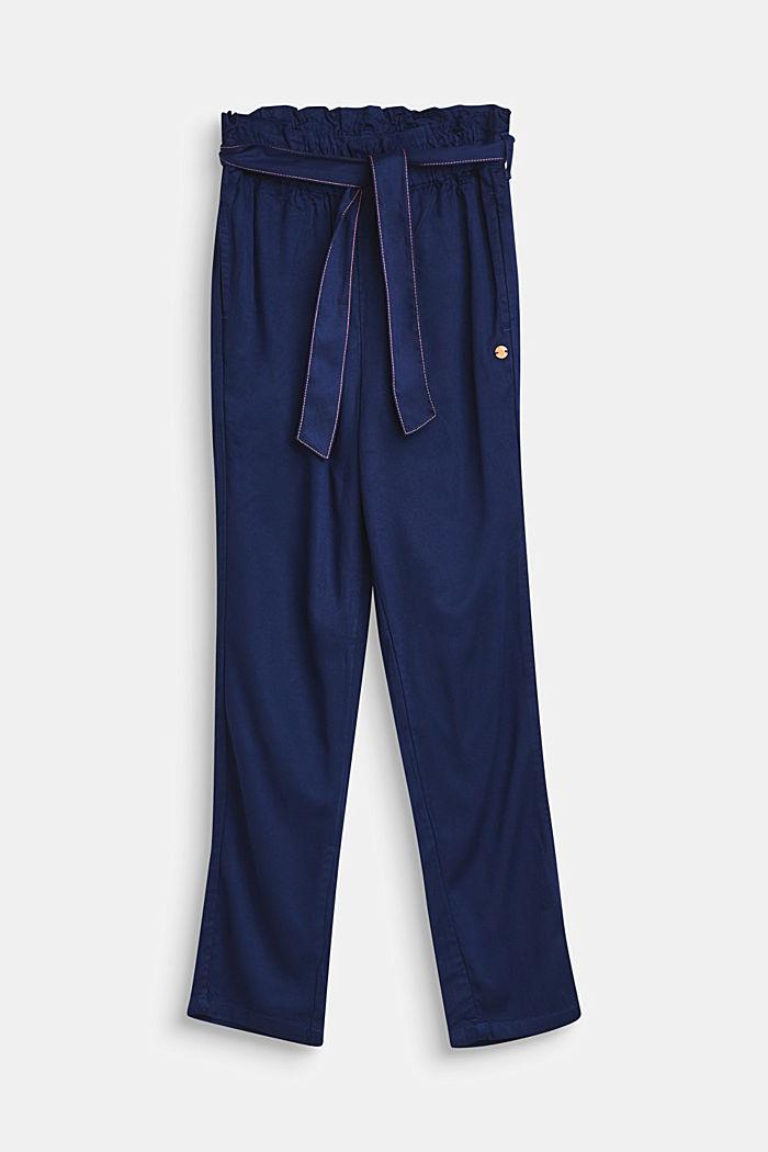 Dunne broek met paperbagband, LCMARINE BLUE, detail image number 0