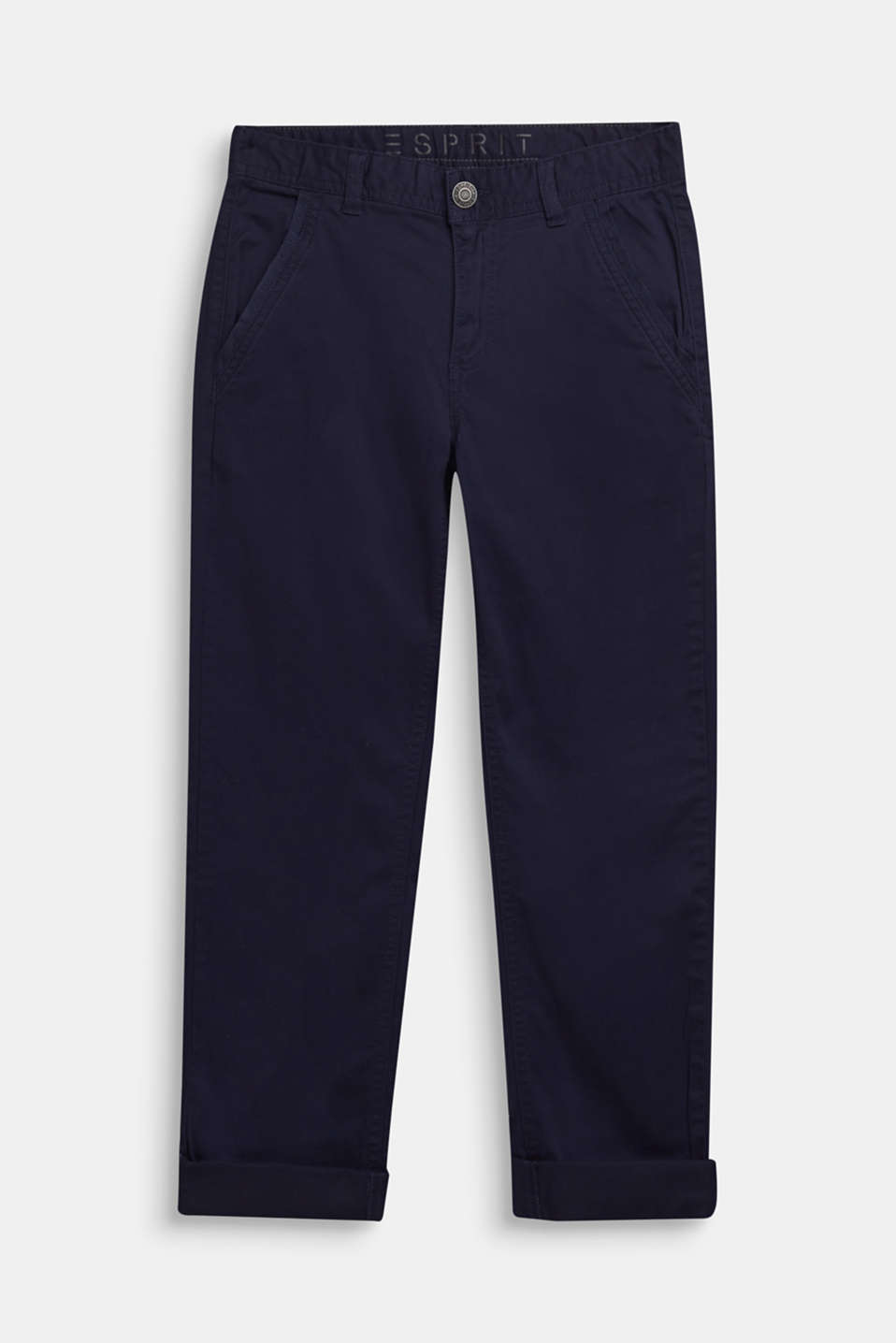 Esprit - Pantalon en coton stretch à empiècement en ruban tissé