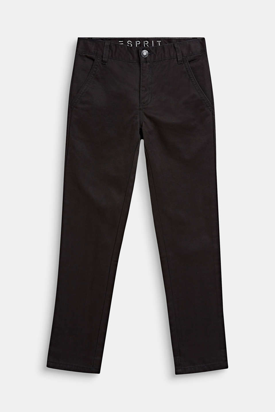 Chinos with adjustable waistband, 100% cotton, LCANTHRACITE, detail image number 0