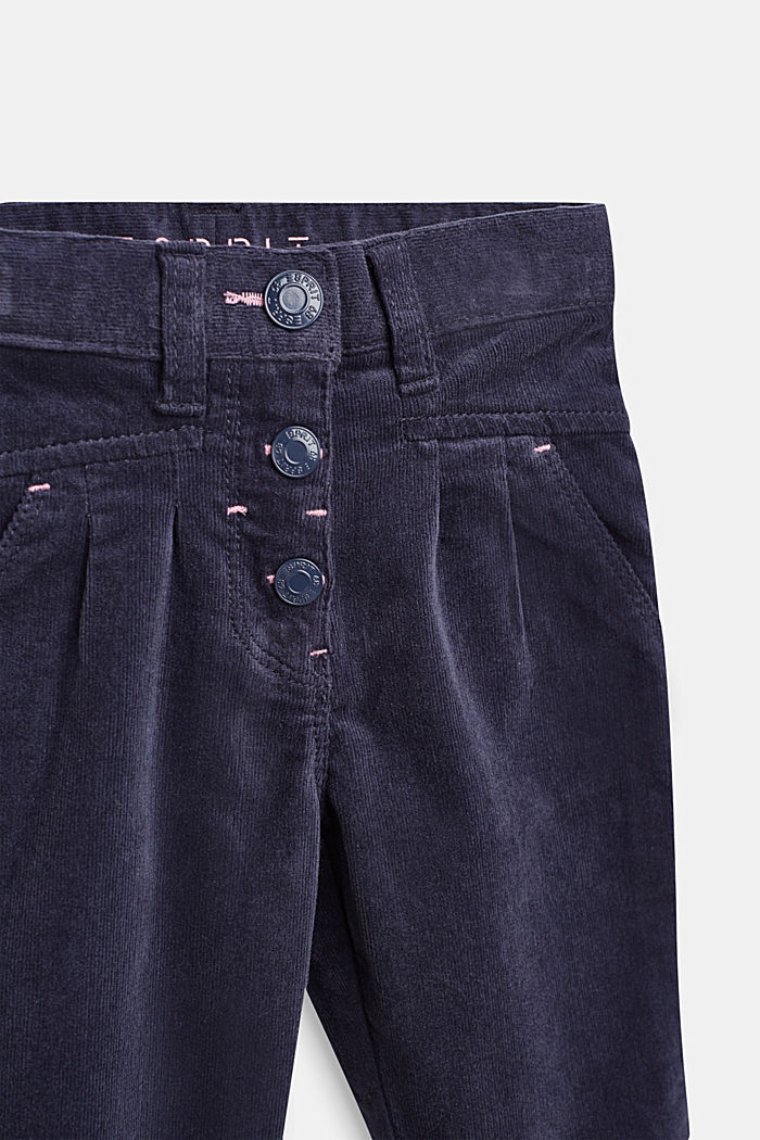 Stretch cotton corduroy trousers, MIDNIGHT BLUE, detail image number 2