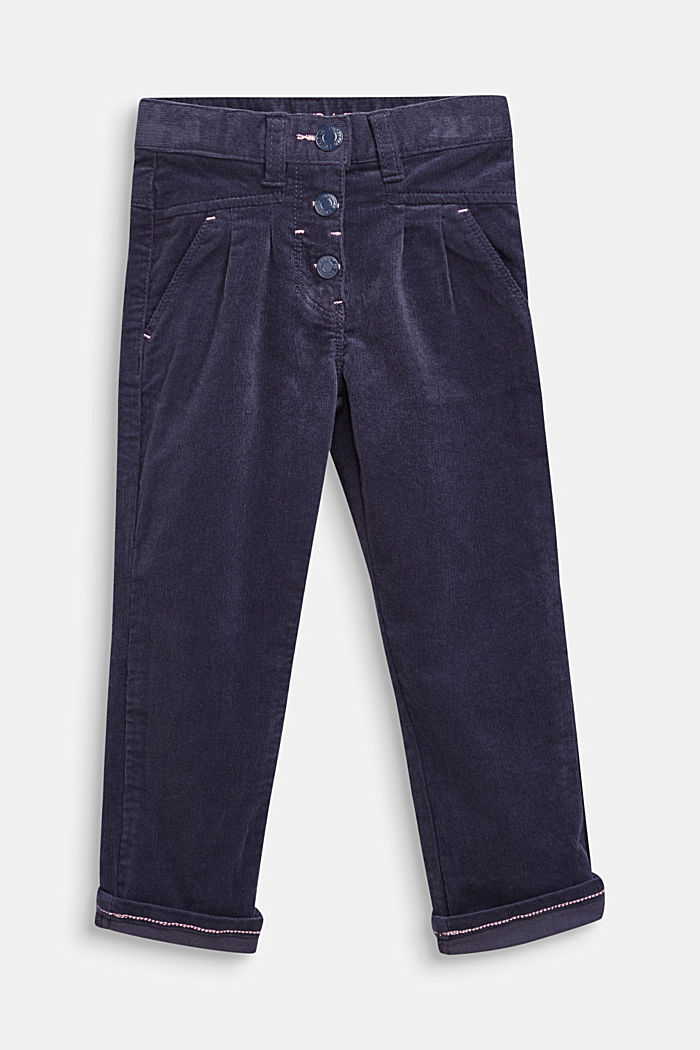 Stretch cotton corduroy trousers, MIDNIGHT BLUE, detail image number 0