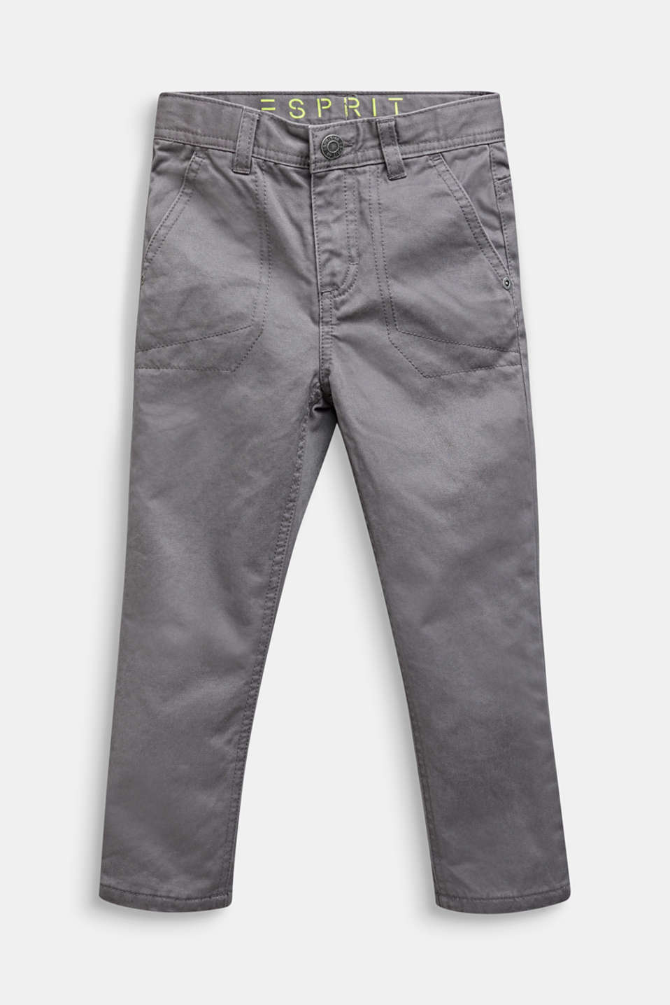 Twill trousers with jersey lining, GREY STONE, detail image number 0