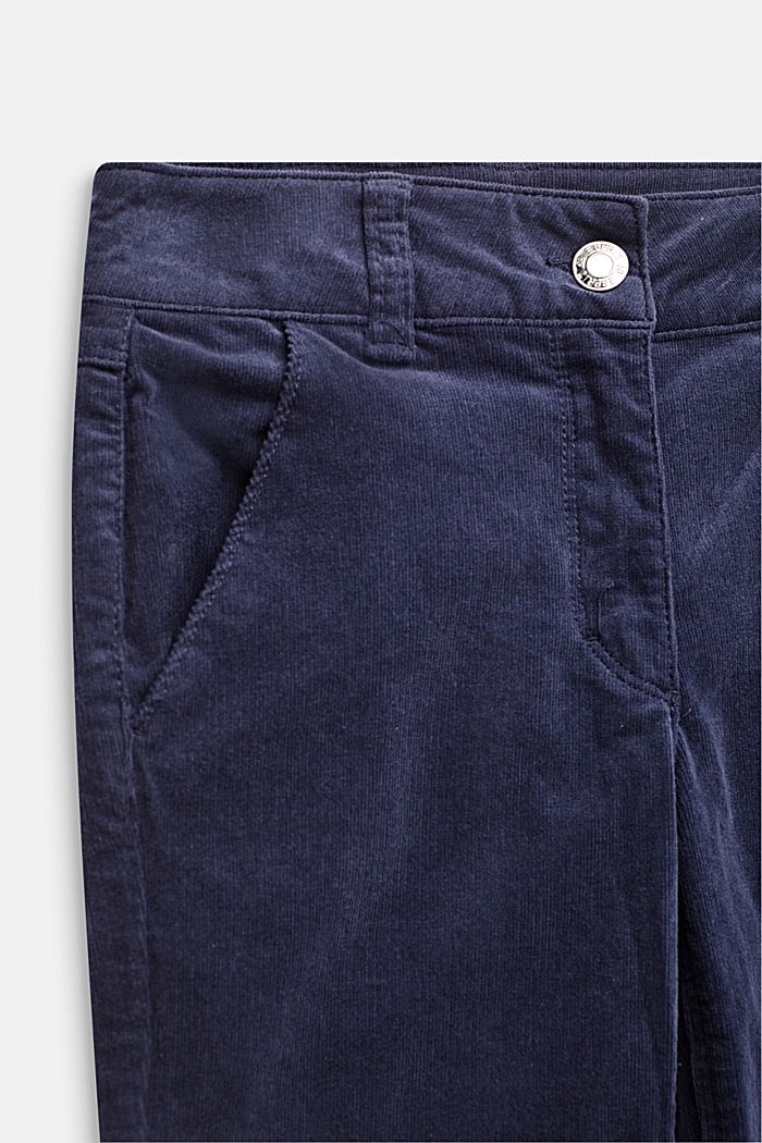 Flared corduroy trousers made of cotton with stretch, MIDNIGHT BLUE, detail image number 2