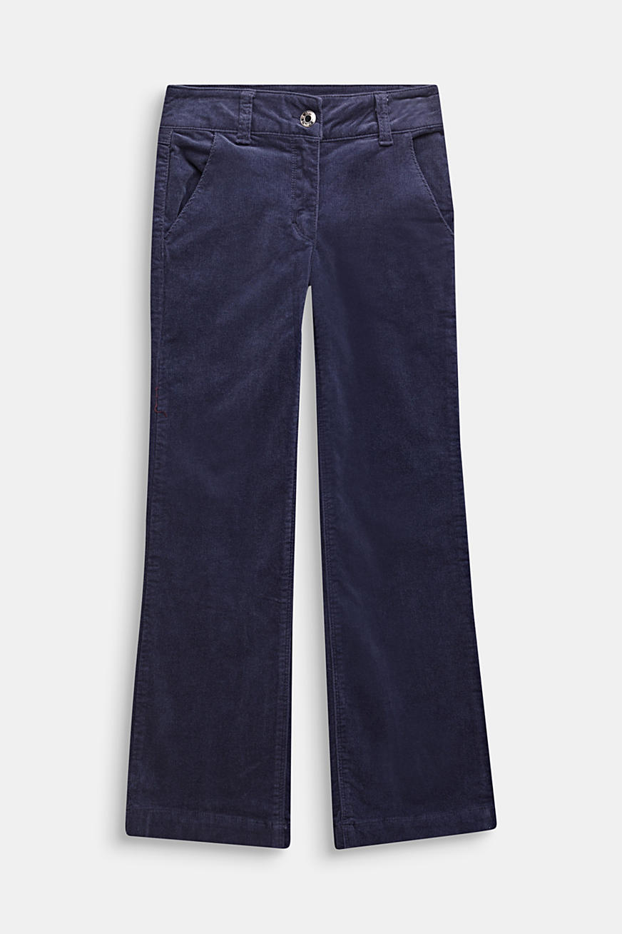 Flared corduroy trousers made of cotton with stretch