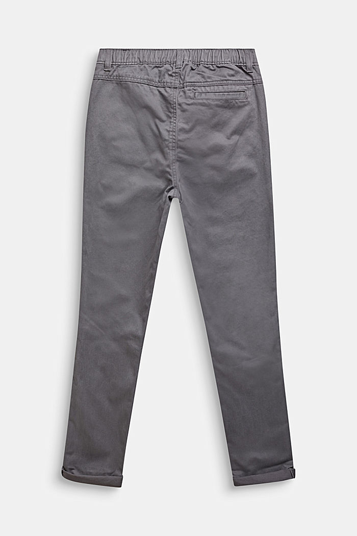 Trousers with a drawstring waistband, 100% cotton, GREY STONE, detail image number 1