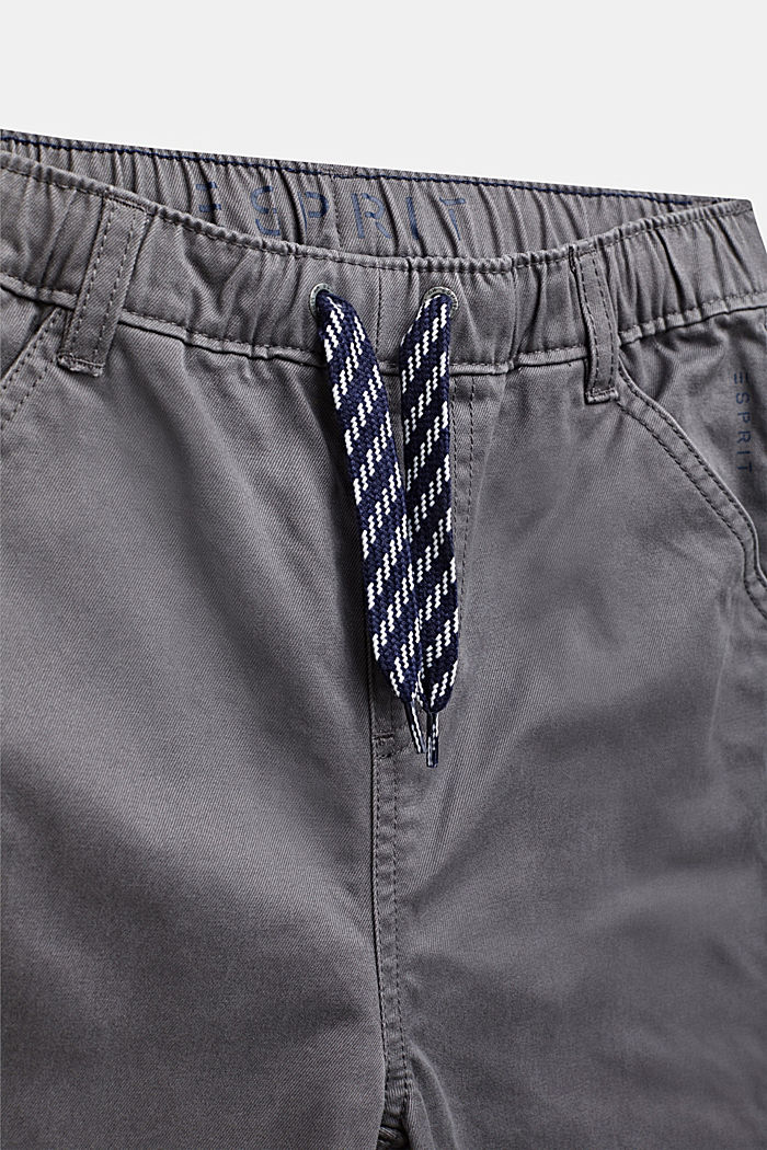 Trousers with a drawstring waistband, 100% cotton, GREY STONE, detail image number 2
