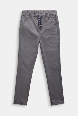 Trousers with a drawstring waistband, 100% cotton, LCGREY STONE, detail