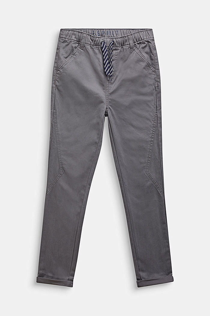 Trousers with a drawstring waistband, 100% cotton, GREY STONE, detail image number 0
