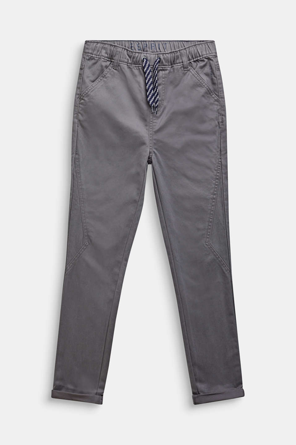Trousers with a drawstring waistband, 100% cotton, LCGREY STONE, detail image number 0