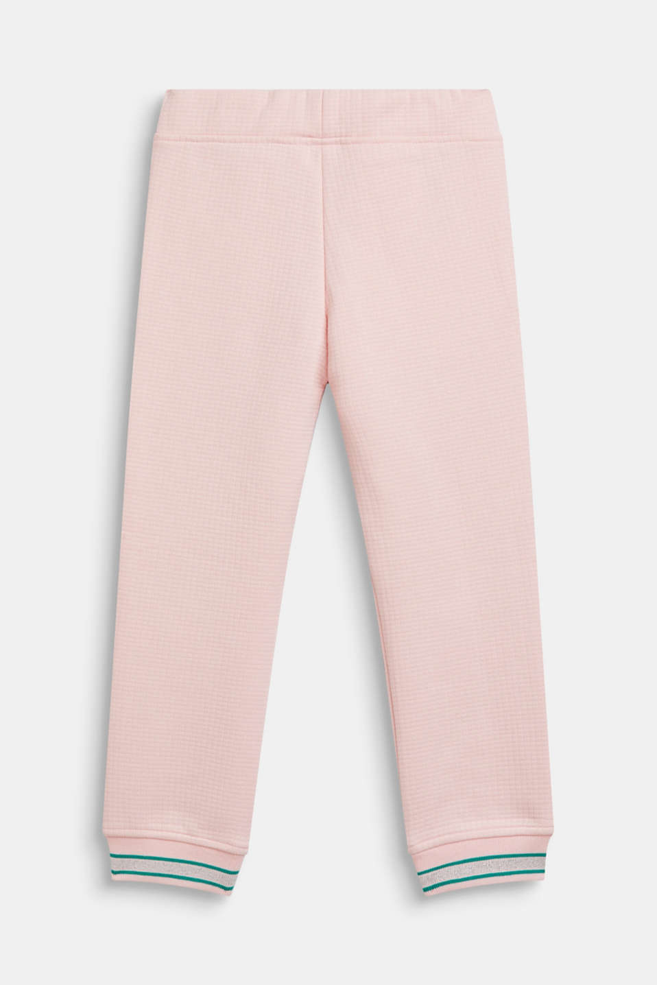 Quilted sweatshirt fabric trousers with glittering hem borders, TINTED ROSE, detail image number 1