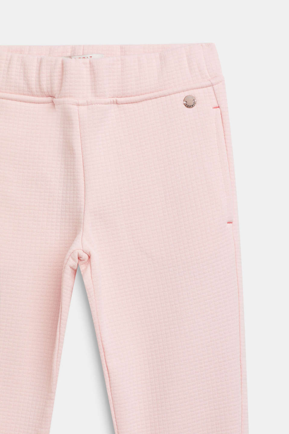 Quilted sweatshirt fabric trousers with glittering hem borders, TINTED ROSE, detail image number 2