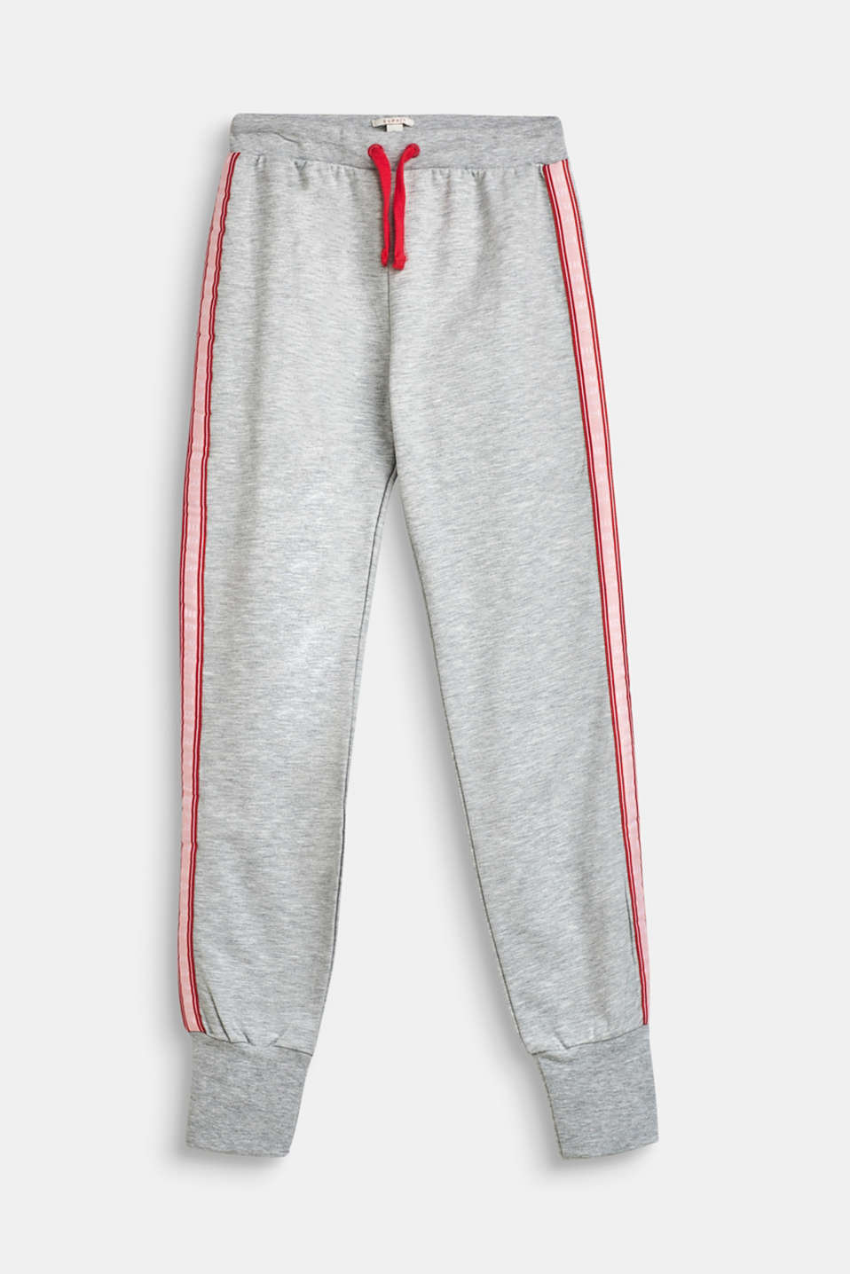 Melange tracksuit bottoms with logo tape, LCHEATHER SILVER, detail image number 0