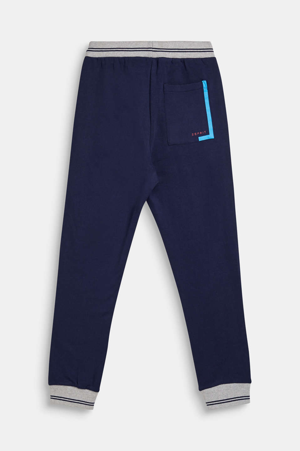 Tracksuit bottoms with ribbed cuffs, 100% cotton, LCNAVY, detail image number 1