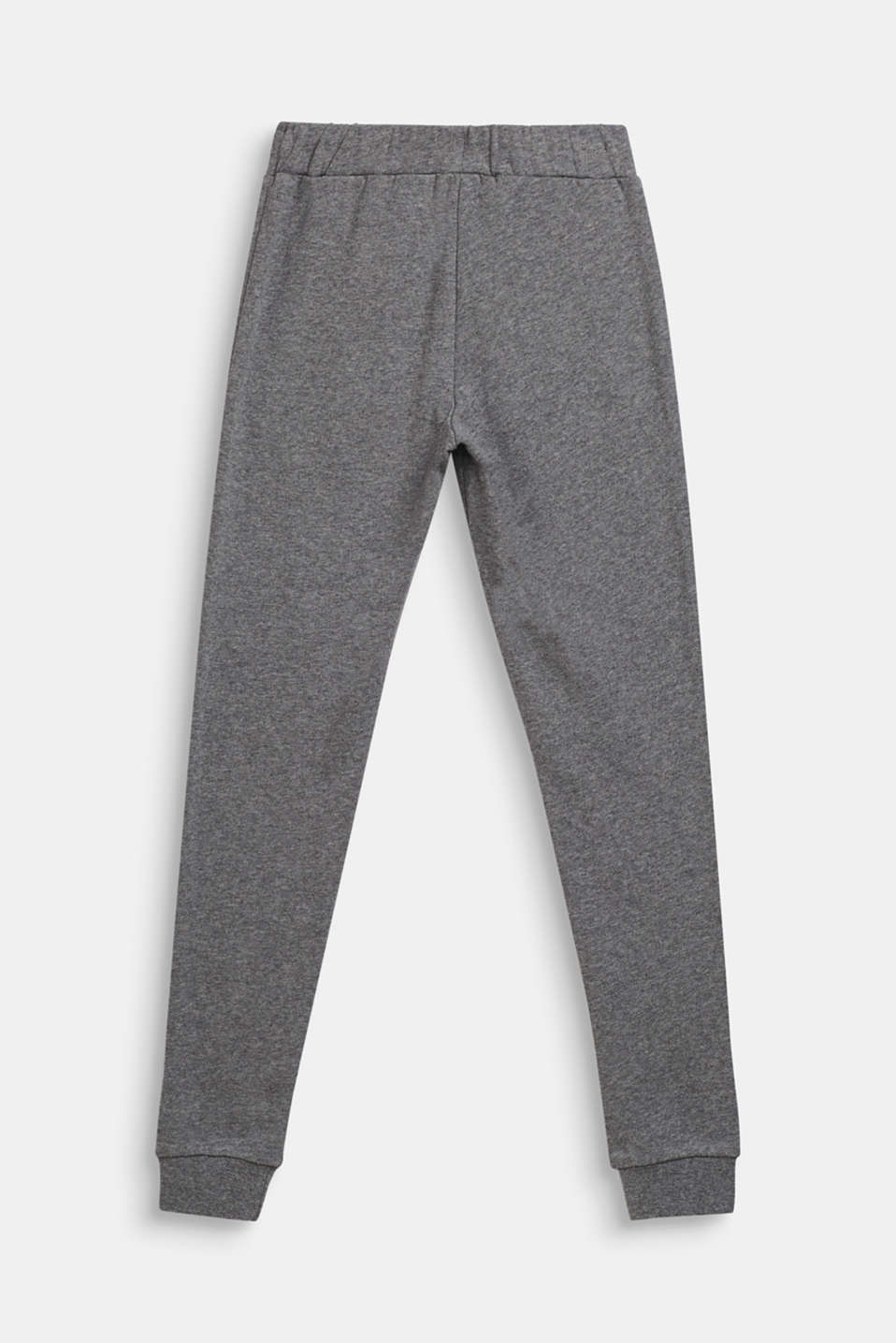 Melange sweatshirt fabric trousers made of 100% cotton, LCDARK HEATHER G, detail image number 1