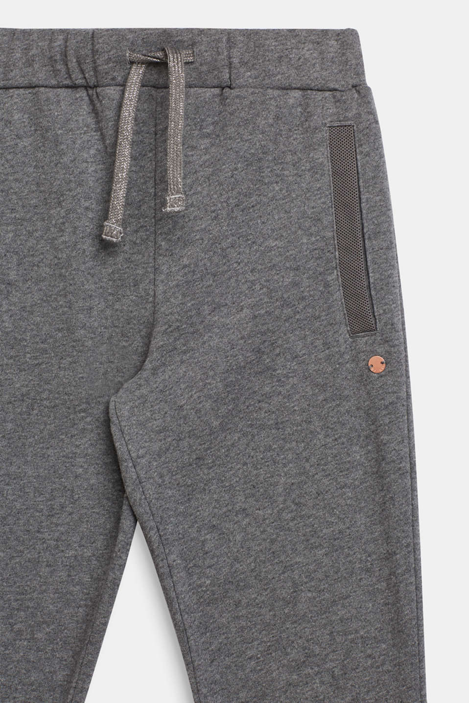 Melange sweatshirt fabric trousers made of 100% cotton, LCDARK HEATHER G, detail image number 2
