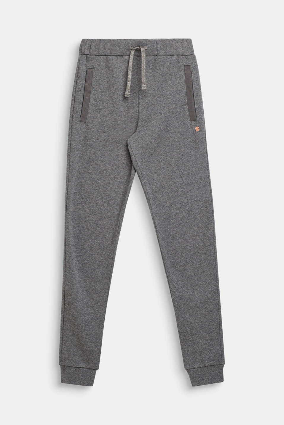 Melange sweatshirt fabric trousers made of 100% cotton, LCDARK HEATHER G, detail image number 0