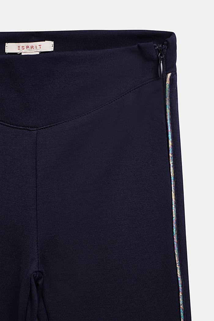Jersey broek met metallic paspels, NAVY BLUE, detail image number 2